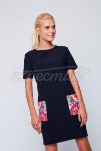 Черное украинское платье с укрорнаментом на карманах фото