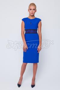 Синє українське плаття з принтом вишивки на поясі фото