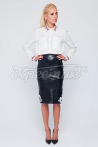 Українська спідниця з еко-шкіри фото
