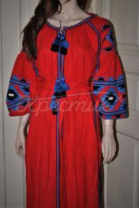 """Красное платье вышиванка бохо """"Гиана"""" фото"""