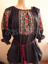 Чорна вишита шифонова блузка купити в Києві