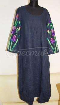 Украинское синее женское платье с вышивкой
