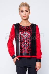Жіноча блуза з орнаментом з шкірозамінника купити Київ