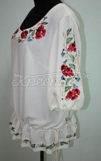 Шифоновая блузка белая с полевыми маками купить