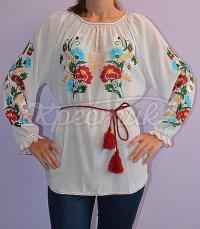 Шифонова блуза вишиванка білого кольору купити