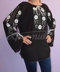Черная блузка из шифона с белой вышивкой для женщин купить