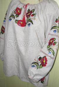 Вишиванка жіноча з льону з маками купити Київ