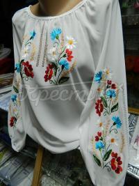 Шифонова блуза з польовими квітами купити Київ