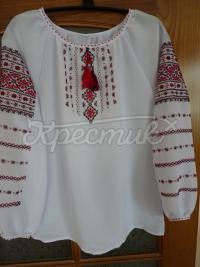 Вишиванка жіноча з червоним орнаментом купити в інтернеті