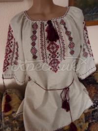 Женская вышиванка из льна ручная работа