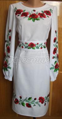 Жіноча вишита сукня - червоні маки