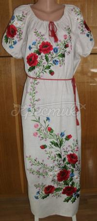 Українське вишите плаття з маками