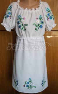 Українське вишите плаття - волошки і ромашки