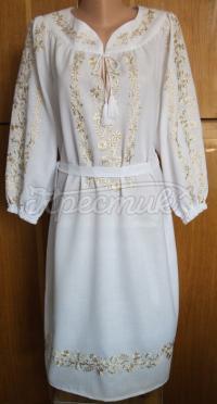 Українське плаття із золотистою вишивкою