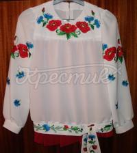 Купити жіночу блузку шифон з маками