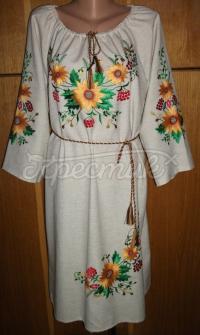 Українське вишите плаття - шовк на льоні