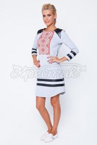 Українське плаття з вишивкою та шкірозамінником купити Київ