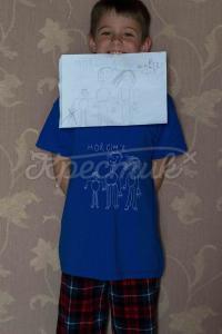 Дитячий малюнок футболка ручного розпису робота вашої дитини фото