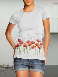 """Жіноча футболка ручного розпису """"маковий колір"""" фото"""