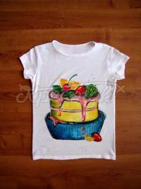"""Жіноча футболка ручного розпису """"Ласун""""фото"""