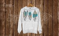 Свитшот ручной росписи-акварельные перья фото