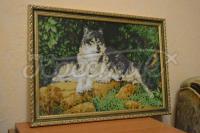 """Вышитая картина """"Пара волков"""" купить интернет-магазин"""