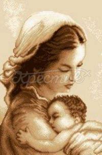 """Вишита хрестиком картина """"Мама з дитиною"""""""