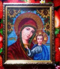 """Вышитая икона бисером """"Богородица Казанская с подсолнухами"""" купить"""
