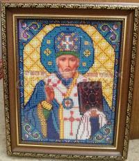 """Ікона вишита бісером """"Святий Миколай"""" вишивка на замовлення"""