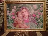 """Вышитая икона """"Дева Мария с сыном Иисусом"""" купить"""