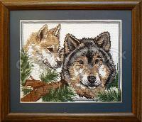 Вишита хрестиком картина вовки