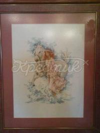 """Вишита картина хрестиком """"Дівчина з конем"""""""