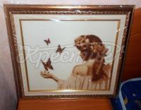 "Вишита хрестиком картина ""Дівчина з метеликами"""