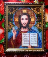 """Ікона вишита бісером """"Ісус Христос з соняшниками"""" купити"""
