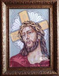 """Вышитая крестиком икона """"Спаситель"""" фото"""