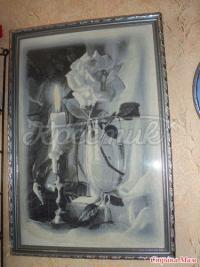 """Вишита картина """"Свічка і троянда"""" купити Київ"""