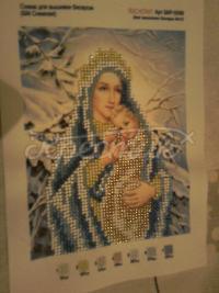 """Вышитая бисером икона """"Богородица Зимняя"""" купить"""