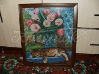 """Вишита картина """"Кіт біля вікна"""" купити"""