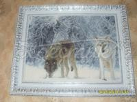 """Вышитая картина """"Волки в зимнем лесу"""" купить Киев"""