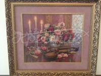 Вышитая крестом картина Цветы со скрипкой