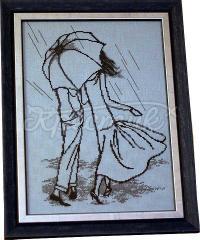 """Вишита картина хрестиком """"Під парасолькою"""""""