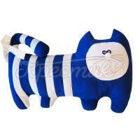 Синій смугастий кіт подушка ручної роботи