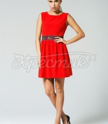 66fc6ca593484e Червоне жіноче плаття з вишитим поясом