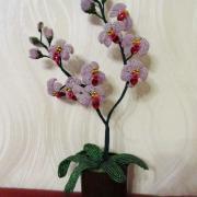 Квітка орхідея виготовлена з бісеру, ручна робота