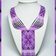Фиолетовое колье из бисера купить Киев