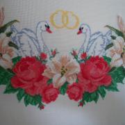 Весільний рушник з лебедями і кільцями купити Київ