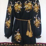 """Вышитая женская шифоновая блузка """"Золотые цветы"""" фото"""