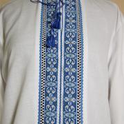 Мужская вышиванка с голубой вышивкой Киев