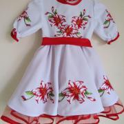 """Детское платье вышиванка """"Красная лилия"""" фото"""