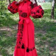 Женское вышитое платье Алый закат купить